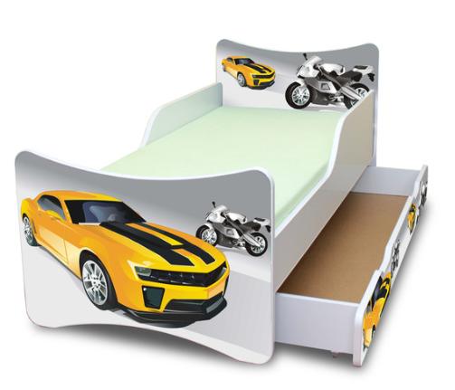 NELLYS Dětská postel se zábranou a šuplík/y Závodník - 160x90 cm