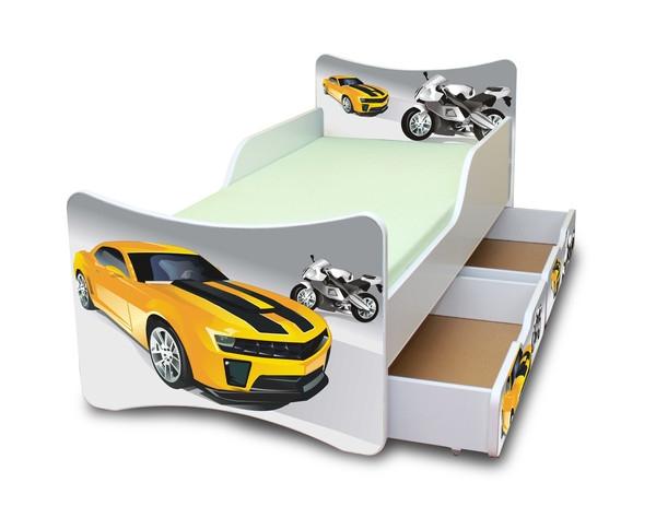 NELLYS Dětská postel se zábranou a šuplík/y Závodník - 200x90 cm