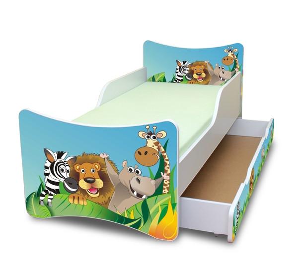 NELLYS Dětská postel se zábranou a šuplík/y Zoo,160x70 cm