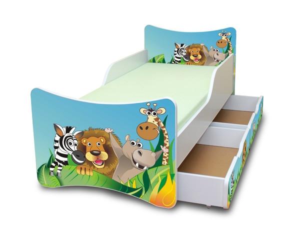 NELLYS Dětská postel se zábranou a šuplík/y Zoo, 200x90 cm