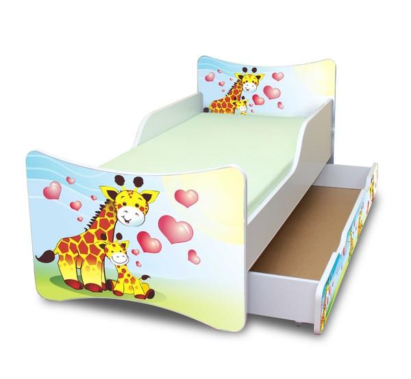 NELLYS Dětská postel se zábranou a šuplík/y Žirafky,160x80 cm