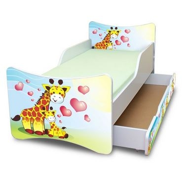 NELLYS Dětská postel se zábranou a šuplík/y Žirafky, 160x90 cm