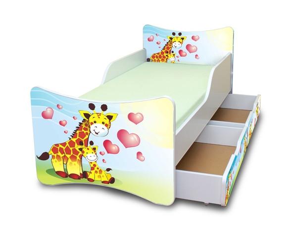 NELLYS Dětská postel se zábranou a šuplík/y Žirafky, 200x90 cm
