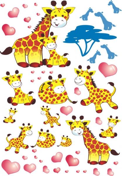 NELLYS Nálepky, dekorace na stěnu 70x100 cm - Žirafky