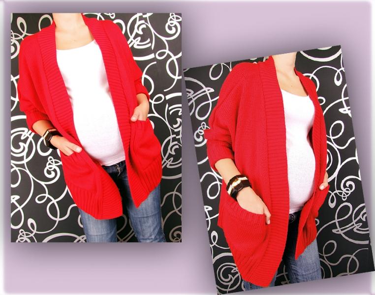 Kardigan, svetřík, plášť s kapsami, Monac - červená