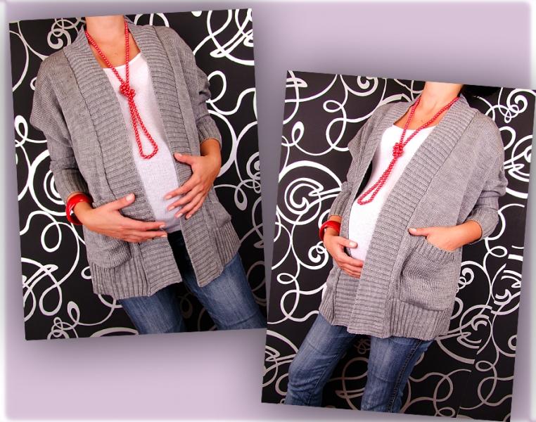 Be MaaMaa Kardigan, svetřík, plášť s kapsami, Monac - šedável. UNI