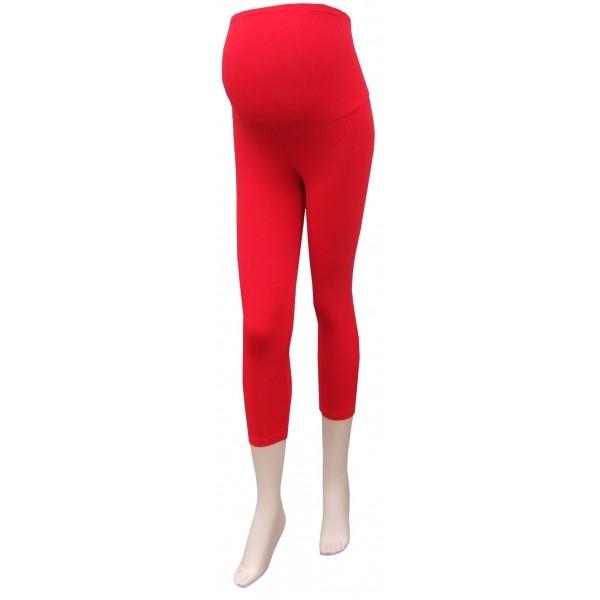 Těhotenské legíny 3/4 délka - červená - barva: Červená, vel. XL/XXL