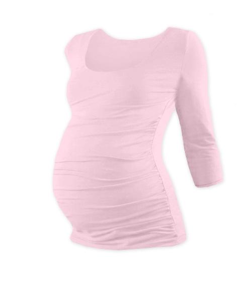 Těhotenské triko 3/4 rukáv Johanka - sv. růžová, L/XL