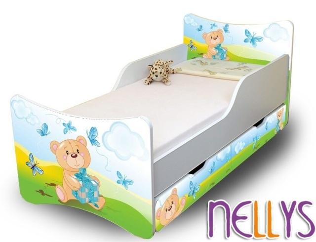 NELLYS Dětská postel se zábranou a šuplík/y Míša Dáreček New - 180x90 cm