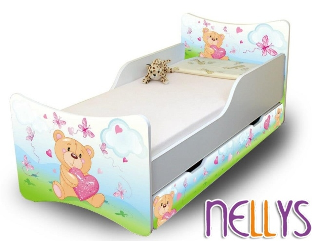 NELLYS Dětská postel se zábranou a šuplík/y Míša Srdce New- 160x70 cm