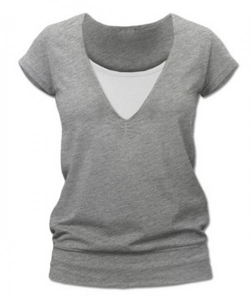 Kojící,těhotenské triko JULIE - šedý melír