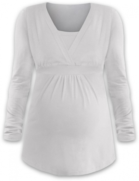 JOŽÁNEK Kojící i těhotenská tunika ANIČKA s dlouhým rukávem - smetanová