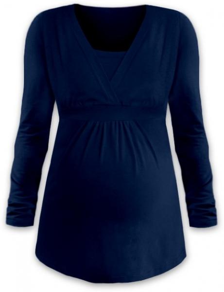 JOŽÁNEK Kojící i těhotenská tunika ANIČKA s dlouhým rukávem - jeans, Velikost: M/L