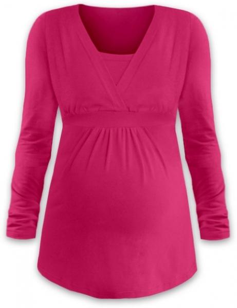 JOŽÁNEK Kojící i těhotenská tunika ANIČKA s dlouhým rukávem - sytě růžová