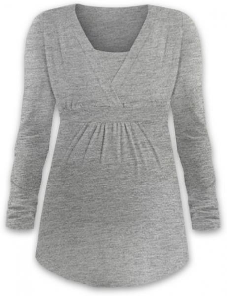 Kojící i těhotenská tunika ANIČKA s dlouhým rukávem - šedý melír