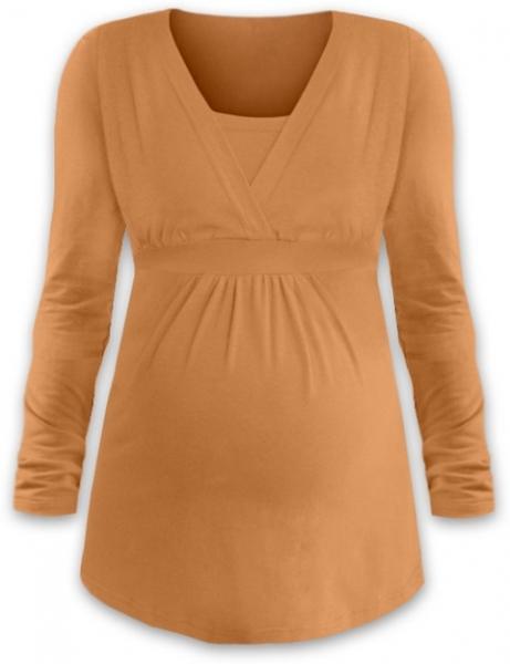 Kojící i těhotenská tunika ANIČKA s dlouhým rukávem - sv. oranžová