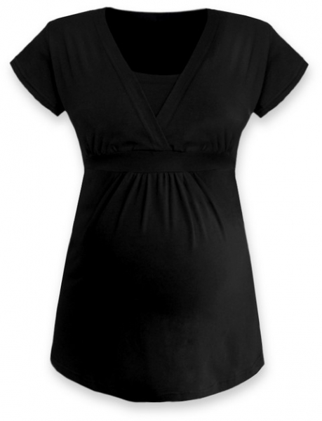 Kojící, těhotenská tunika ANIČKA krátký rukáv - černá, Velikost: L/XL