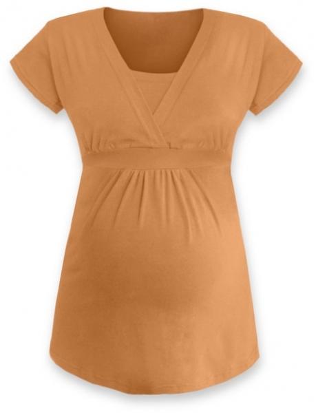 Kojící, těhotenská tunika ANIČKA krátký rukáv - sv. oranžová