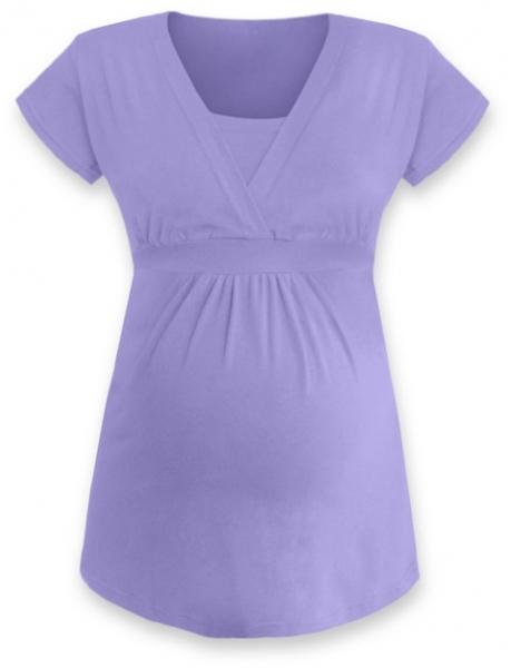 Kojící, těhotenská tunika ANIČKA krátký rukáv - šeříková, Velikost: L/XL