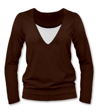 Kojící, těhotenské triko Julie dl. rukáv - čokohnědá
