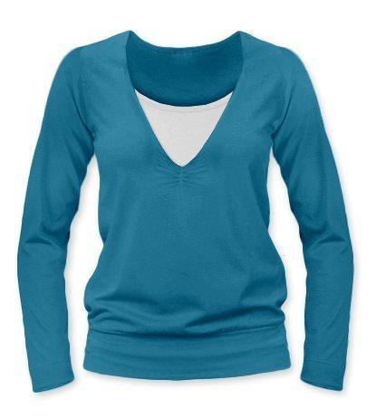 Kojící, těhotenské triko Julie dl. rukáv - petrolejová, L/XL