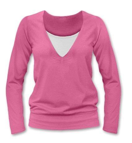 Kojící, těhotenské triko Julie dl. rukáv - růžová