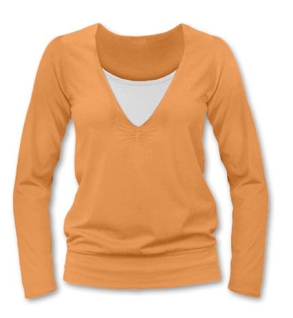 Kojící, těhotenské triko Julie dl. rukáv - sv. oranžová, M/L