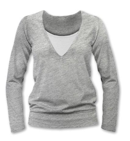 Kojící, těhotenské triko Julie dl. rukáv - šedý melír