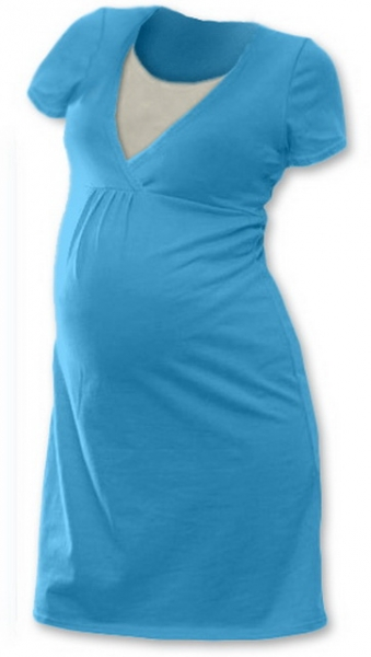 Těhotenská, kojící noční košile JOHANKA krátký rukáv - tyrkys