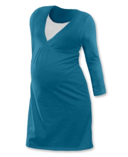 JOŽÁNEK Těhotenská, kojící noční košile JOHANKA dl. rukáv - petrolejová, Velikost: L/XL