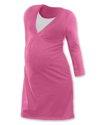 JOŽÁNEK Těhotenská, kojící noční košile JOHANKA dl. rukáv - růžová