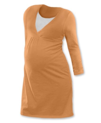 JOŽÁNEK Těhotenská, kojící noční košile JOHANKA dl. rukáv - sv. oranžová