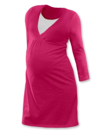 Těhotenská, kojící noční košile JOHANKA dl. rukáv - sytě růžová, Velikost: S/M