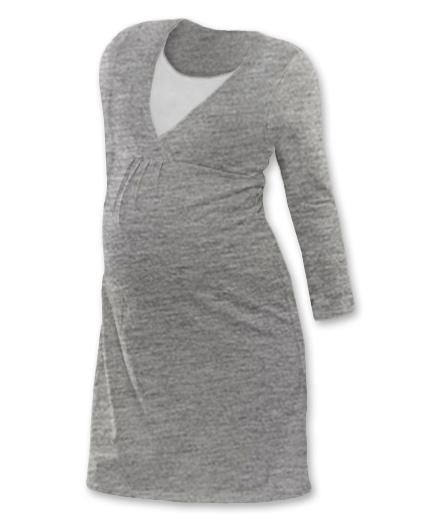 JOŽÁNEK Těhotenská, kojící noční košile JOHANKA dl. rukáv - šedý melír