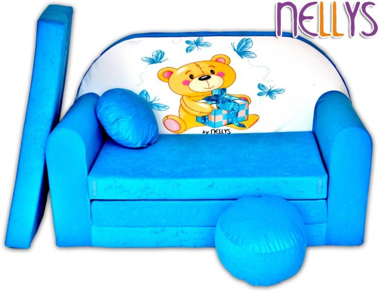 NELLYS Rozkládací dětská pohovka Míša modrý