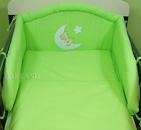 Mantinel s povlečením lux Darland - Medvídek na měsíčku 140 x 70 - zelená, Velikost: 140x70