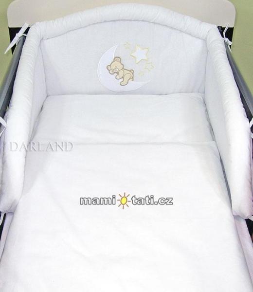Mantinel s povlečením lux Darland - Medvídek na měsíčku 140 x 70 - bílá