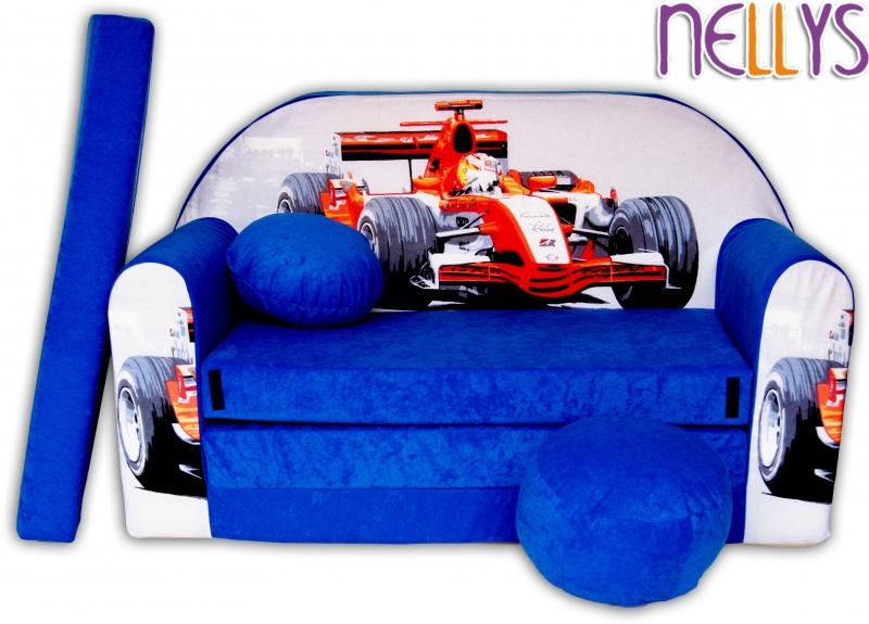 NELLYS Rozkládací dětská pohovka 33R - Formule v modré