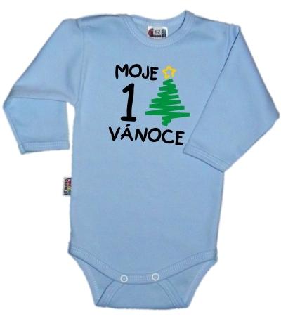 Baby Dejna 1. Vánoce - Body dl. rukávek - sv. modré, vel. 74