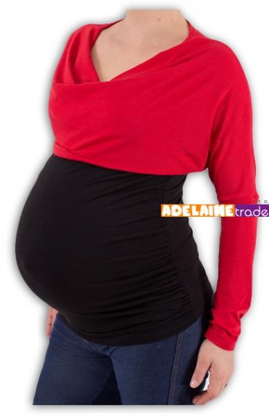 Těhotenská tunika VODA DUO - červeno-černá, Velikost: S/M