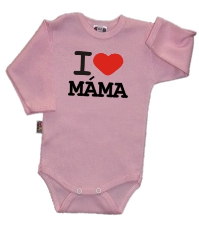 Baby Dejna Body dl. rukáv Kolekce I Love Máma, růžové, vel. 80