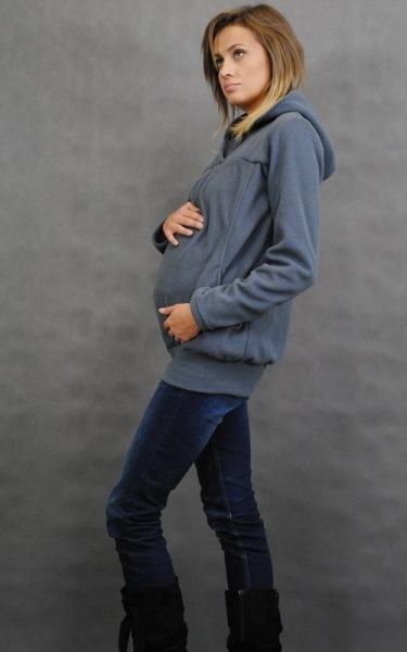 Be MaaMaa Těhotenská mikina s kapucí - grafit