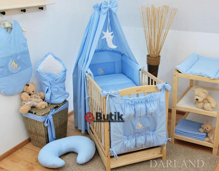 Luxusní mega set s výšivkou CL -  Medvídek na měsíčku modrý kostička