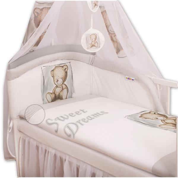 Baby Nellys Mantinel s povlečením Sweet Dreams by Teddy - šedý, Velikost: 135x100