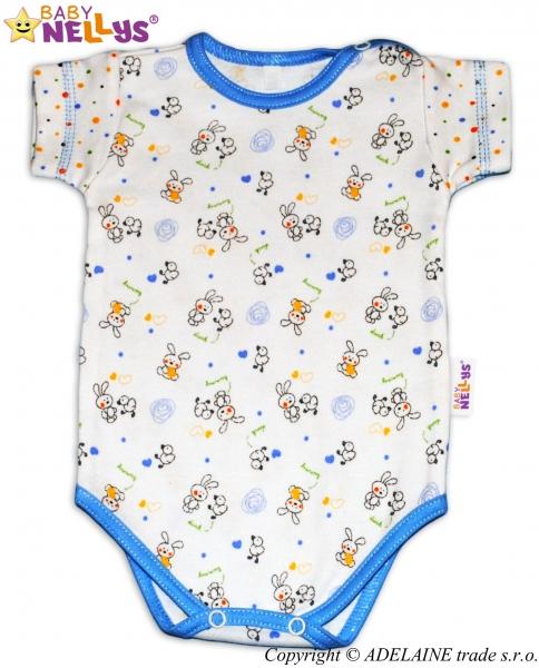 Body kr. rukáv Baby Nellys ®  - Králíček/puntík modrý