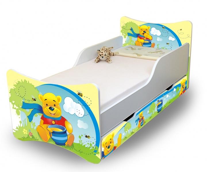 NELLYS Dětská postel se zábranou a šuplík/y Medvídek s medem - 160x70 cm