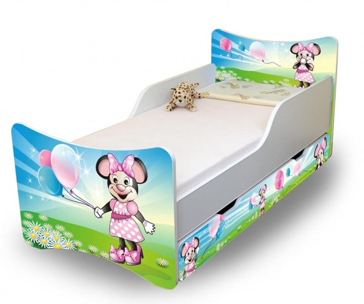 NELLYS Dětská postel se zábranou a šuplík/y Myška s balónkem - 180x80 cm