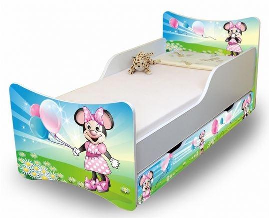 NELLYS Dětská postel se zábranou a šuplík/y Myška s balónkem - 200x90 cm