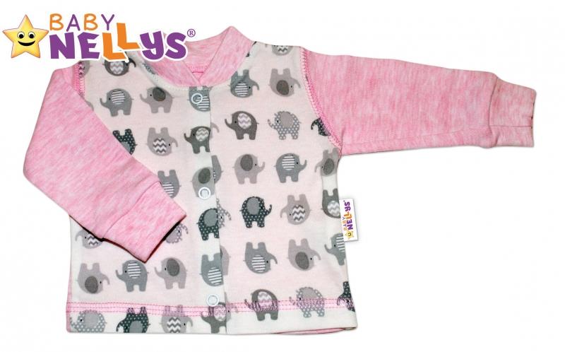 Košilka SLONÍK Baby Nellys ® - růžový melírek, Velikost: 80 (9-12m)