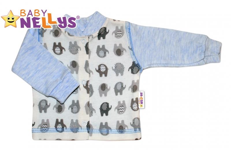 Košilka SLONÍK Baby Nellys ® - modrý melírek, Velikost: 80 (9-12m)